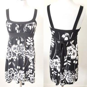 Love Tease Black White Floral Tie-Waist Mini Dress